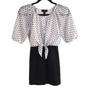 Black & White Polka Dot Tie Top/Skirt Combo